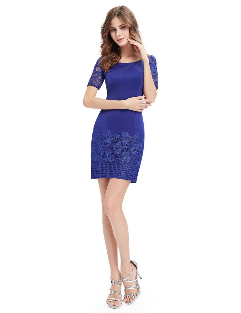 Společenské šaty krátké, královsky modré