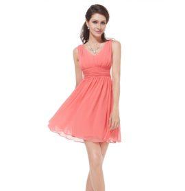 Společenské šaty krátké, korálové