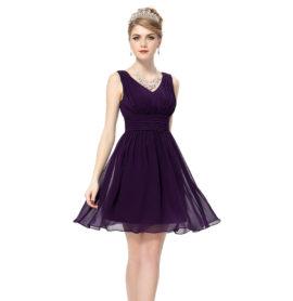 Společenské šaty krátké, tmavě fialové