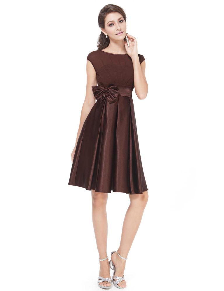 Společenské šaty krátké, hnědé