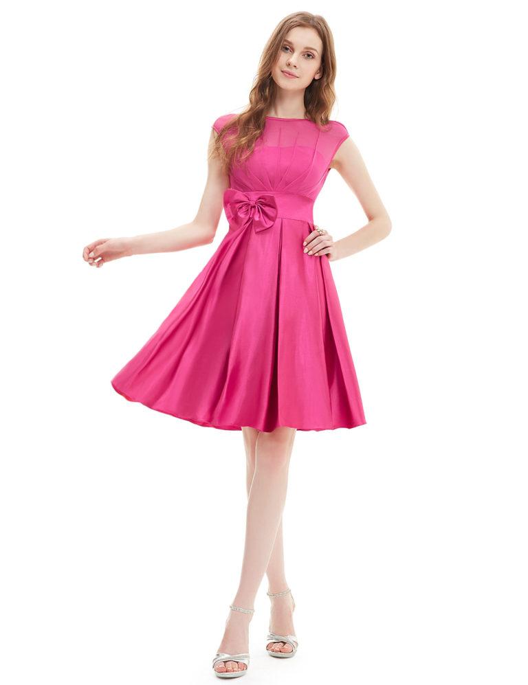 Společenské šaty krátké, sytě růžové